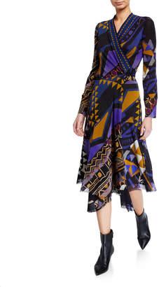 Fuzzi Printed Long-Sleeve Asymmetrical Wrap Dress