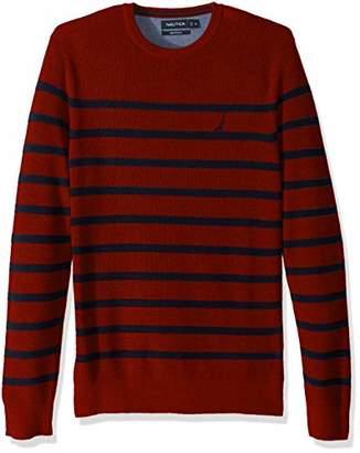 Nautica Men's Long Sleeve Striped Crew Neck Sweater
