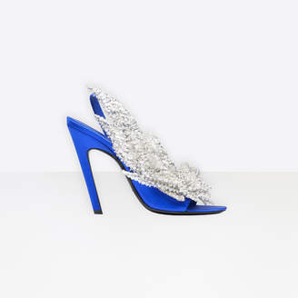 Balenciaga Pointed toe satin pumps with broken heel effect