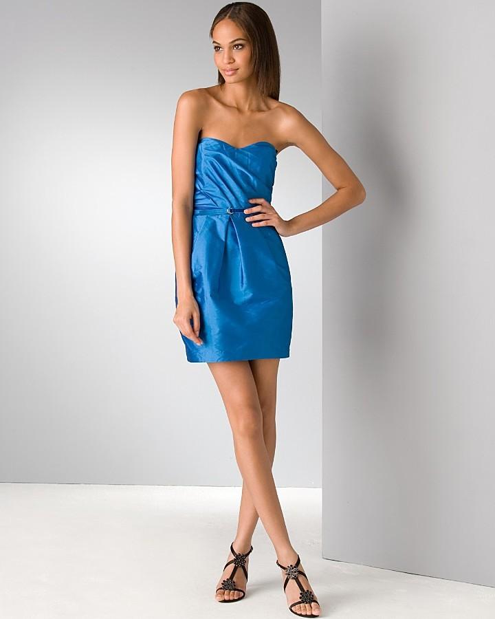 natalie portman wears blue taffeta dress with purple aldo
