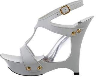 Casadei T-Strap Leather Wedges