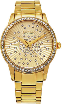Co SO & Ny Women'S Madison Gold Tone Stainless Steel Bracelet Dress Quartz Crystal Scattered Dial Watch J160P22