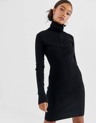 JDY zip neck ribbed mini jumper dress in black