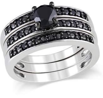 Black Diamond Generic 1 Carat T.W. Sterling Silver Three-Piece Bridal Set
