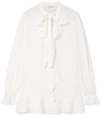 Rachel Zoe Natasha Pussy-bow Ruffled Silk-crepe Blouse - Off-white