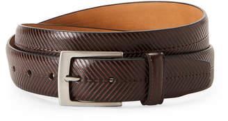 Tommy Bahama Brown Chevron Center Stitch Leather Belt