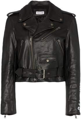 Balenciaga shrunken graffiti leather jacket