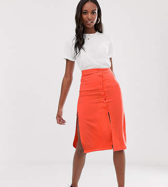 Brave Soul Tall lyn midi skirt with button detail