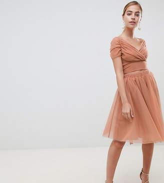 John Zack Petite Tulle Midi Skirt