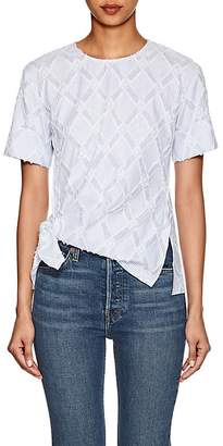 Derek Lam 10 Crosby Women's Striped Knot-Front Cotton-Blend Top