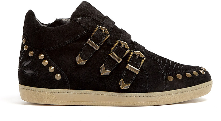 Ash Black Suede Studded Buckle Strap Zoo Trainers
