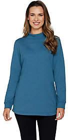 Denim & Co. Active Mock Neck Long Sleeve Tunicw/ Hi Low Hem