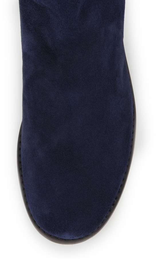 Stuart Weitzman Reserve Wide Suede Stretch Over-the-Knee Boot, Nice Blue (Made to Order)