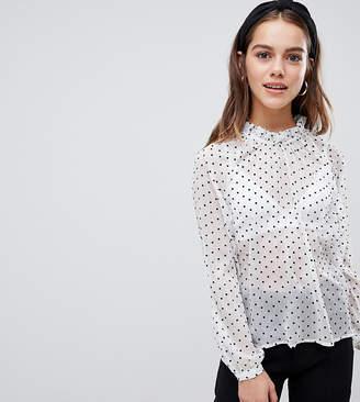 eb9f4527402dc5 Y.A.S Petite polka dot spot sheer high neck blouse