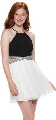 Speechless Juniors' Glitter Cutout Skater Dress