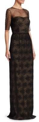 David Meister Illusion Neckline Column Gown