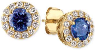 LeVian Le Vian Tanzanite (1 ct. t.w.) and Diamond (1/3 ct. t.w.) Halo Stud Earrings in 14k Gold