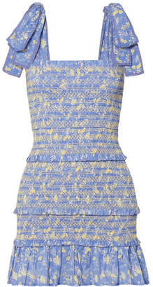 LoveShackFancy Belle Shirred Floral-print Cotton-voile Mini Dress - Light blue