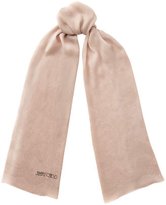 Jimmy Choo LAYLA Ballet Pink Silk Scarf with Lace Pattern