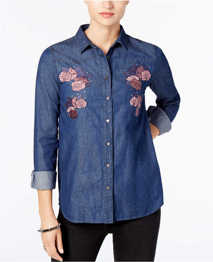 Buffalo David Bitton Thinatini Embroidered Denim Shirt