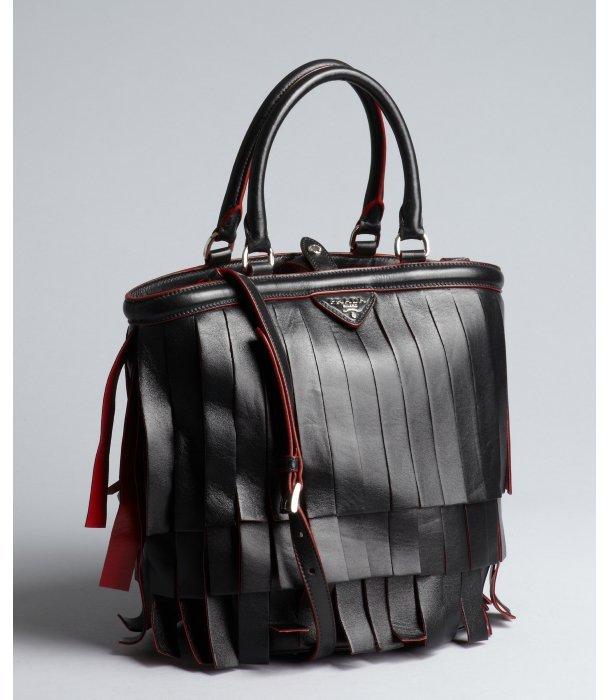 Prada black and fire leather tassel top handle bag