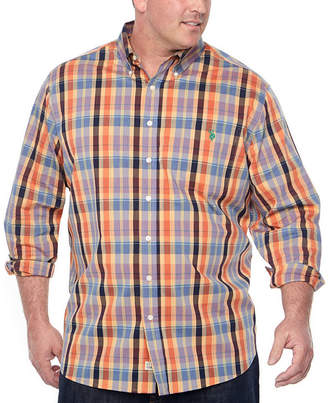 U.S. Polo Assn. USPA Long Sleeve Plaid Button-Front Shirt-Big and Tall