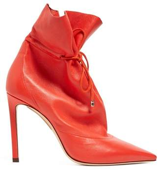Jimmy Choo Stitch 100 Drawstring Leather Ankle Boots - Womens - Red