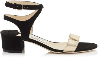 Jimmy Choo MARINE 35 Black Suede and Dore Mirror Leather Sandals