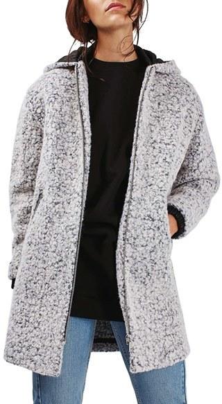 TopshopWomen's Topshop Abigail Boucle Hooded Wool Blend Coat