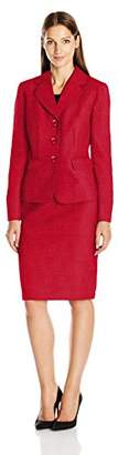Le Suit Women's Tweed Three-Button Skirt Suit
