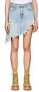 R 13 Women's Tilly Denim Asymmetric Miniskirt - Md. Blue