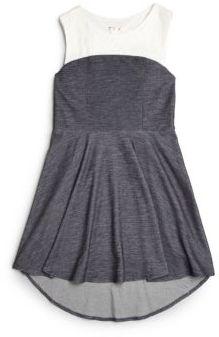 Girl's Denim & Lace Hi-Lo Dress $68 thestylecure.com
