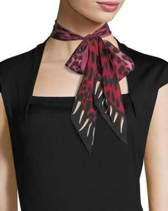 Rockins Leopard Teeth Super Skinny Silk Scarf, Pink