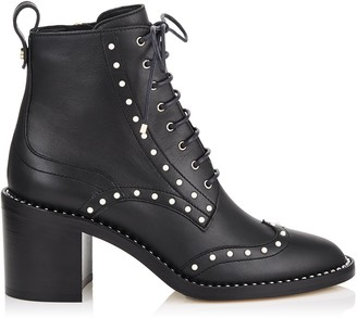 Jimmy Choo HANAH 65 Black Smooth Leather Boots with Pearl Detailing