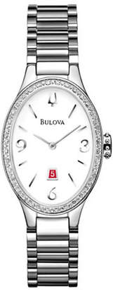 Bulova Analog Diamond Gallery Stainless Steel Oval Watch