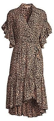 Michael Kors Women's Belted Cheetah Silk Wrap Dress