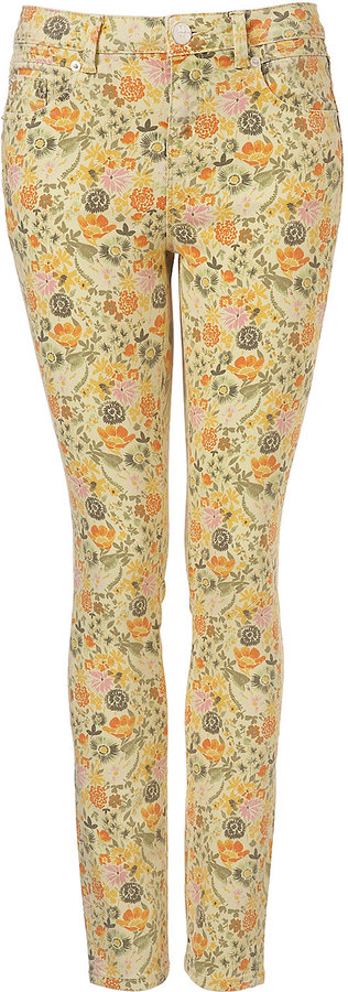 MOTO Yellow Floral Skinny Jeans