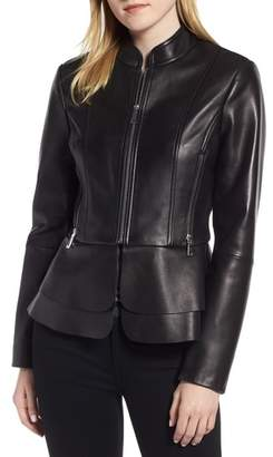Tahari Thea Peplum Hem Leather Jacket
