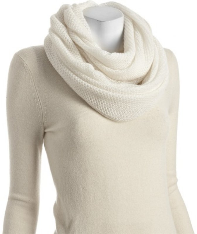 Magaschoni ivory cashmere 'Infinity' scarf