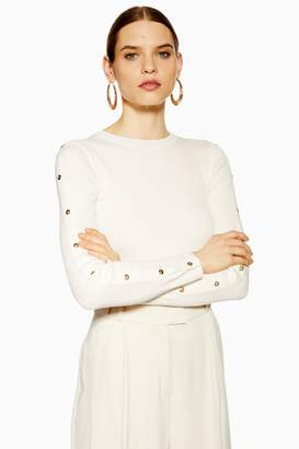 Topshop Womens Knitted Button Sleeve Top - Ivory