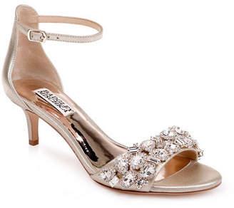 f7df2b79b1fb Badgley Mischka Lara Embellished Metallic Kitten-Heel Sandals