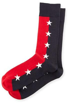 Jonathan Adler Star-Print Colorblock Socks, Blue/Red $30 thestylecure.com