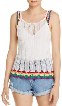 Aqua Rainbow-Trim Crochet Tank - 100% Exclusive