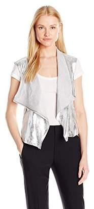 Jones New York Women's Metallic Faux Suede Drapey Vest
