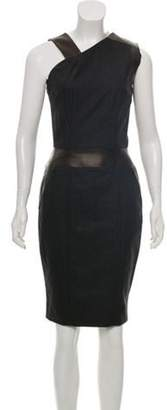 Sophie Theallet Leather-Accented Wool Dress w/ Tags black Leather-Accented Wool Dress w/ Tags