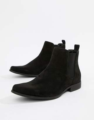Asos DESIGN chelsea boots in black faux suede