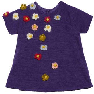 Isabel Garreton Flower Crocheted Knit Shift Dress, Size 6-18 Months