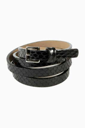 Streets Ahead Textured Silver Buckle Belt Black