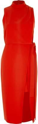 River Island Womens Red high neck sleeveless wrap midi dress