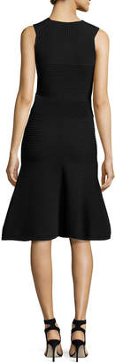 Cushnie et Ochs Ribbed Sleeveless A-Line Dress, Black